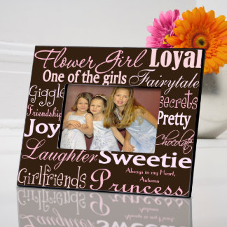 Pink & Brown Personalized Flower Girl PictureFrame Picture Frame