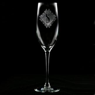 Flauta de champán con monograma del diamante