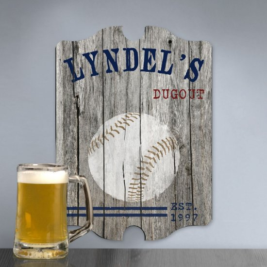 Personalized Man Cave Bar Signs - Baseball Plank