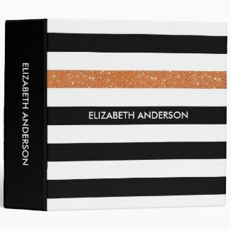 Modern Black Stripes FAUX Orange Glitz and Name Binder