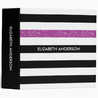 Modern Black Stripes FAUX Purple Glitz and Name Binder