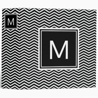 Modern Black and White Chevrons With Monogram Binder