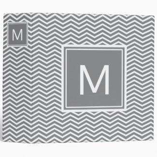 Modern Gray and White Chevrons With Monogram Binder