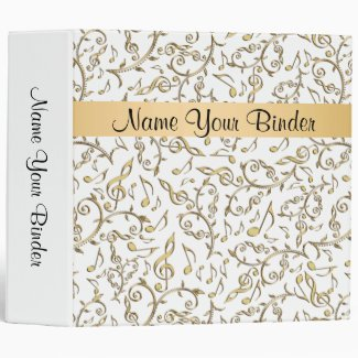 White and Gold Music Notes Binder