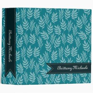 Elegant Aqua Leaves on Teal Pattern With Name Binder