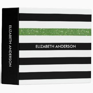 Modern Black Stripes FAUX Green Glitz and Name Binder