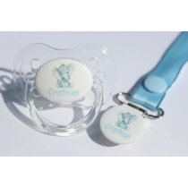 Customized Pacifier & Pacifier Clip - Elephant