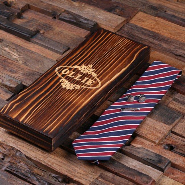 Men's Gift Box Set: Silver Cufflinks, Clip & Tie