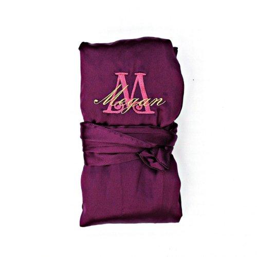 Personalized Bridesmaid Satin Robe, Purple