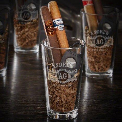Marquee Monogram Cigar Cutter Set & Beer Glass