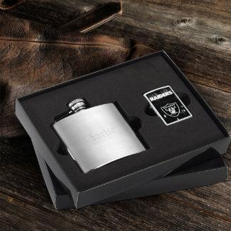 Brushed Flask & Oakland Raiders NFL Zippo Lighter