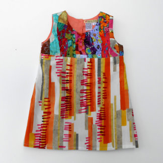 Girls Pattern Dress with a Bodice of Ruching