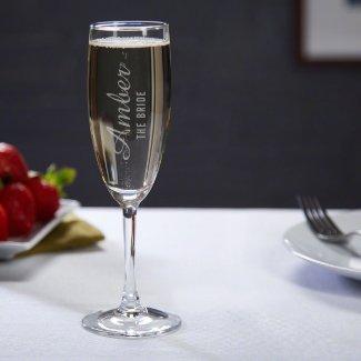 Elegant Engraved Lassarre Champagne Flute