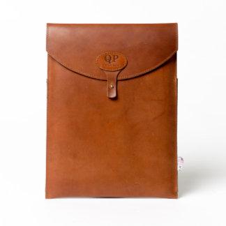 "Brown Leather Monogrammed 13"" Laptop Sleeve"