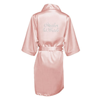 """Pink Satin Robe w/Title, """"Mother of the Bride"""""""