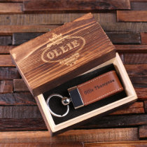 Gift Box with Light Brown Leather Keychain