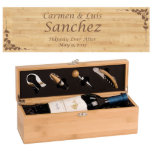 "Personalized Bamboo Wine Presentation Gift Box<br><div class=""desc"">Sustainable bamboo makes a wonderful gift for the ecology-minded person and this Bamboo Wine Bottle Presentation Box is a sure winner. Featuring four quality wine tools with bamboo handles and permanent laser engraving for a fun and personalized design,  this wine set stands out.</div>"