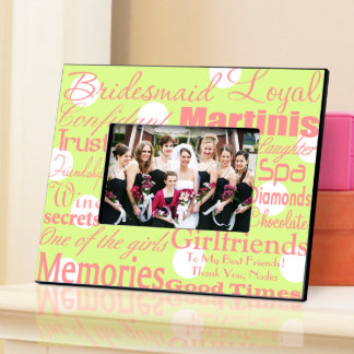 Green Dots Personalized Bridesmaid Frame  Picture Frame