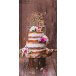 """Personalized Rustic Wooden Wedding Cake Topper<br><div class=""""desc"""">This graceful wedding cake topper proudly crafted and elegantly produced by Personalization Lab in California, US. Cake topper will keep the occasion eternal and makes a great keepsakes. Laser cut from high quality shiny acrylic or wood and food safe. Approx 5.5"""" width by 7.5"""" height. It will perfectly fit on...</div>"""