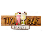 Pink and Piña Colada Tiki Bar Personalized Sign