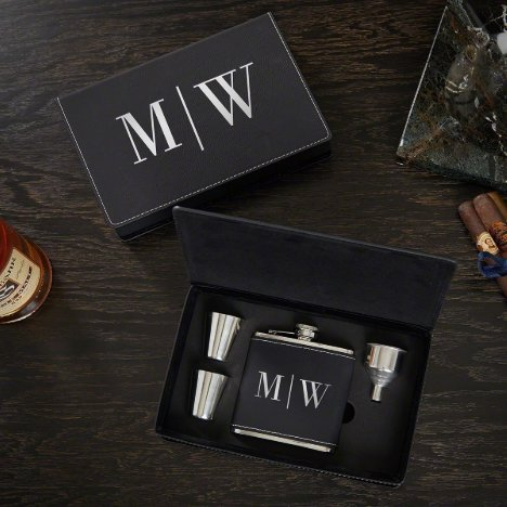 Quinton Monogram Box Set w/ Shot Glasses & Flask