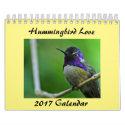 "Calendar 2017 Hummingbird Love, Two Page 5.5"" x 7"""