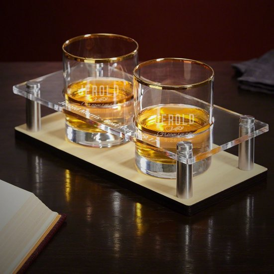 Serving Tray Set with Gold Rim Whiskey Glasses