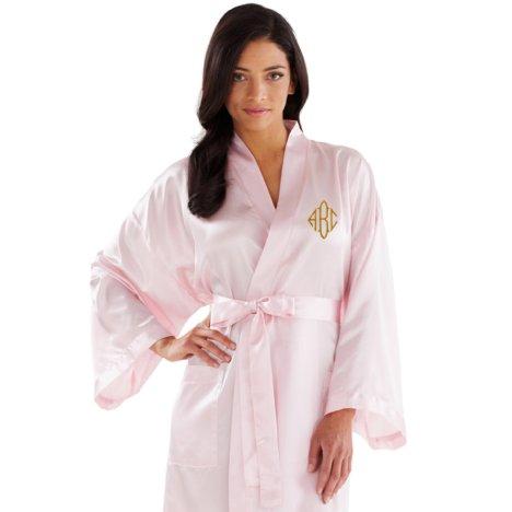 Pink Ladies Kimono Monogram Satin Robe