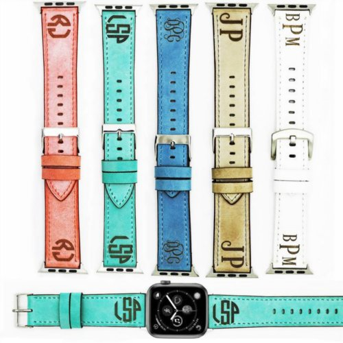 Gorgeous Monogrammed Leather Apple Watch Band