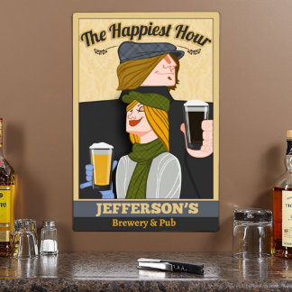 Happiest Hour Personalized Metal Sign
