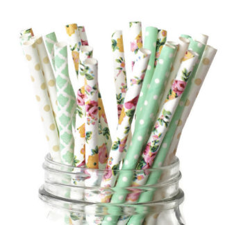 25pk of Green & Floral Patterned Paper Straws