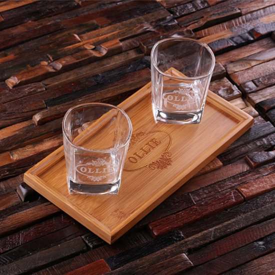 Personalized Bar Tray Set with 2 Whiskey Glasses