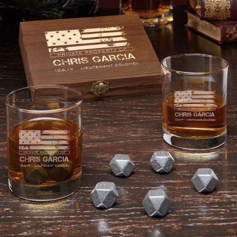 American Heroes Set w/ Stones and Whiskey Glasses