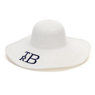 White Floppy Beach Hat w/Navy Blue Monogram