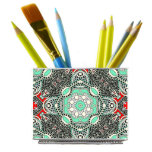 Turquoise Mosaic Stainless Steel Magnetic Desk Bin