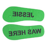 "Personalized Sand Imprint Flip Flops Men's Green<br><div class=""desc"">These classic thong style flip flops are handmade with high density EVA and rubber soles and eco friendly PVC straps. Each pair can be personalized with the colors of your choice. You may choose from up to 12 colors for each flip flop part, and can mix and match as much...</div>"