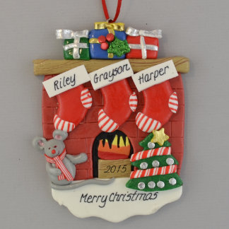 Fireplace 3 Stockings Personalized Ornament