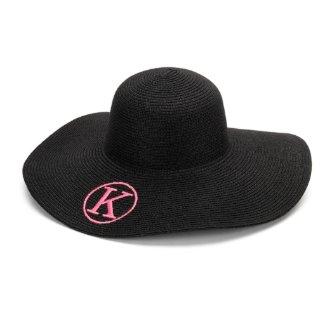Black Floppy Beach Hat w/Pink Monogram