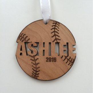 Wood Softball Ornament for Christmas Team Gifts