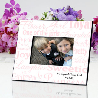Pink, White Flower Girl Picture Frame
