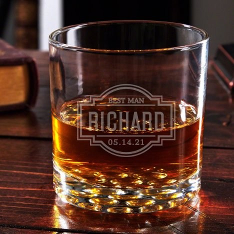Engraved Fremont Buckman Whiskey Glass