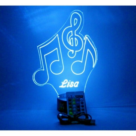 Music Notes Night Light Up Lamp LED Personalized