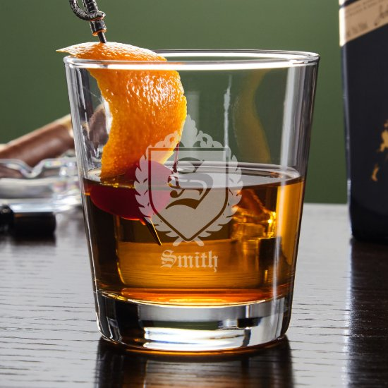 Engraved Shield Oxford Lowball Whiskey Glass