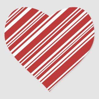 Mixed Red and White Angled Peppermint Stripes Heart Sticker