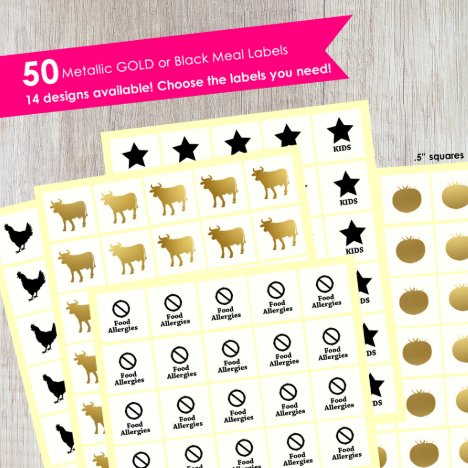Meal Stickers For Place Cards (50 Per Set)