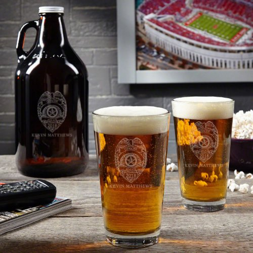 Engraved Police Badge Growler Set and Pint Glass