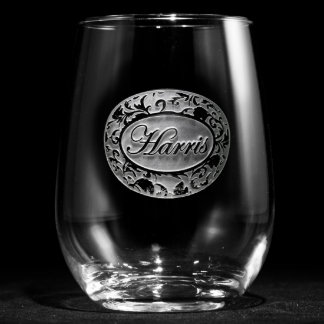 Ornate Damask Personalized Stemless Wine Glass