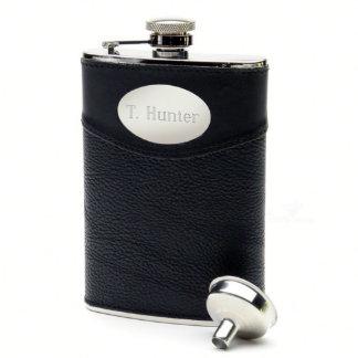 Black Leather 8oz Engraved Flask