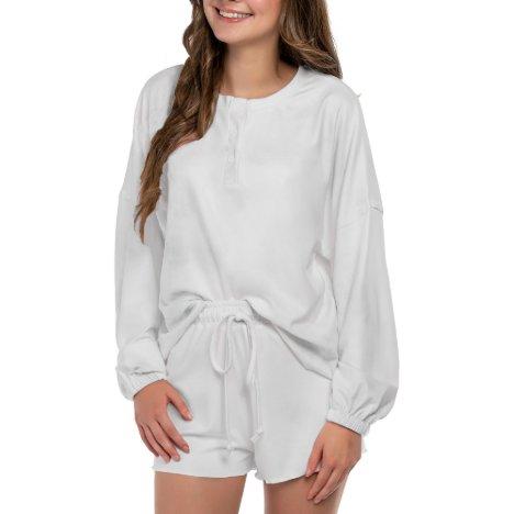 Monogrammed Long Sleeve White Pajama Set