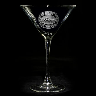 Ornate Damask Personalized Martini Glass
